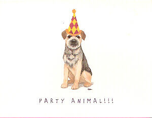 Border Terrier Notecards Note Cards Party Animals LAST ONE!