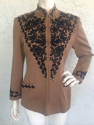 VTG HANAE MORI Jacket Brown Embroidered Suit with Flaw Sz 38