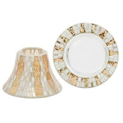 Yankee Candle Large Shade and Tray Set - Gold Wave