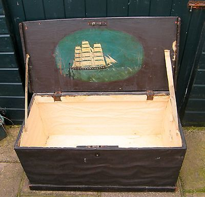 Antique Wood & Leather Travel/Steamer Trunk with Original Painting Sailing Ship