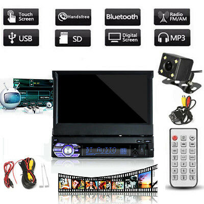 "7"" HD Touch Screen 1 DIN Car DVD/CD/MP3  MP4 MP5 Stereo Radio Bluetooth + Camera"