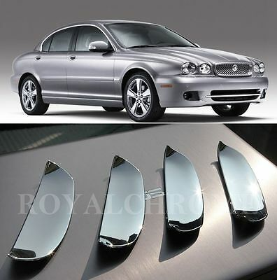 Set of 4x ROYAL PREMIUM CHROME Door Handle Scoops Cups for JAGUAR X TYPE 01-09