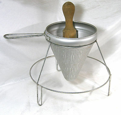 Vintage Tomato Cone on Stand with Wooden Dasher Juicer Canning Tool