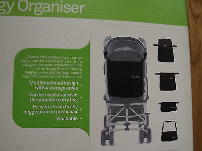 Silver Cross Buggy Organiser Bag Black New