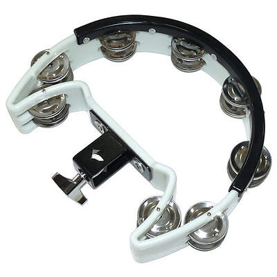 Drum Kit Tambourine White Double Row 16 Jingles DP Percussion DST W