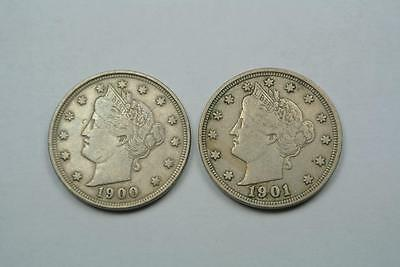 TWO Liberty V Nickels, 1900 & 1901 - C1521