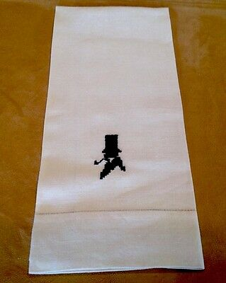 Beautiful Antique Show Towel, Linen, Cream, Needlepoint Colonial Man, Hat & Pipe