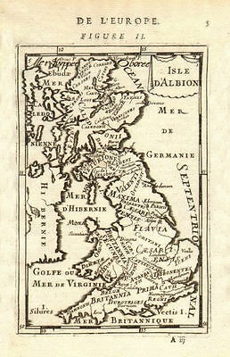 ROMAN BRITAIN. Names of Tribes & Roman towns. 'Isle d'Albion'. MALLET 1683 map