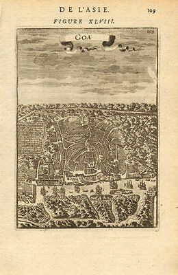 INDIA. Bird's eye view of Goa. Map. Ships. Decorative. MALLET 1683 old