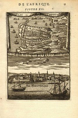 LIBYA. Plan & view of the town & port of Tripoli. Barbary. MALLET 1683 old map