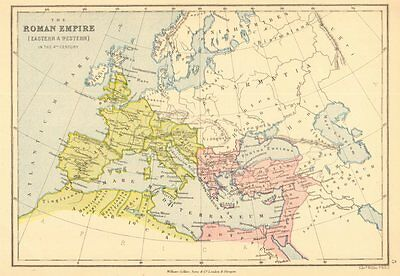 ROMAN EMPIRE. In the 4th century. Eastern & Western. BARTHOLOMEW 1876 old map