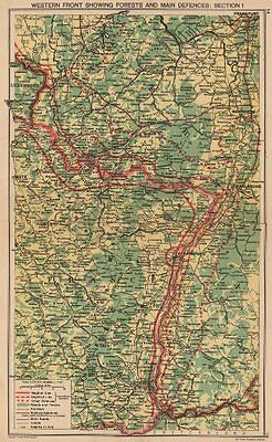 WORLD WAR 2. Maginot & Siegfried line defences. Pre-invasion of France 1940 map