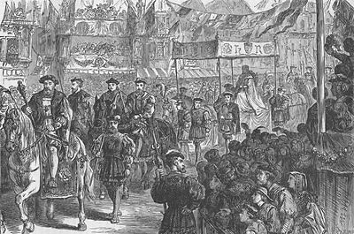 CHEAPSIDE. The marriage procession of Anne Boleyn. London c1880 old print