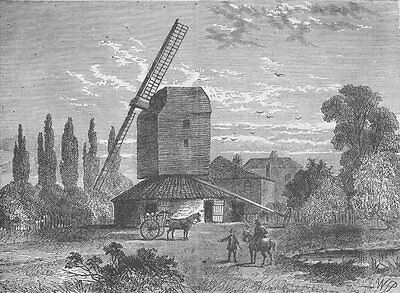 CAMBERWELL. Old Camberwell Mill. London c1880 antique print picture