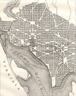WASHINGTON DC. City Plan, original layout, 1793 c1880 old antique map chart