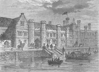 GREENWICH. Old Palace of Greenwich, in 1630. London c1880 antique print
