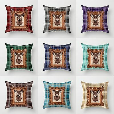 """UK Stock Tartan Check , Stag Cushion Covers 18"""" x 18"""" Decorative Pillow Cover"""