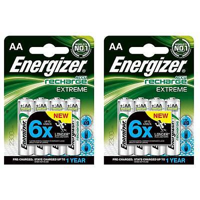 8 x Energizer AA HR6 EXTREME PRE-CHARGED NiMh Rechargeable Batteries 2300 mAh