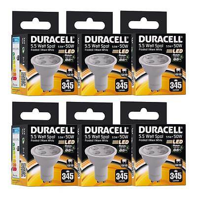 6x Duracell GU10 LED Light Bulb 5.5W 50W Equivalent Frosted Glass Warm White