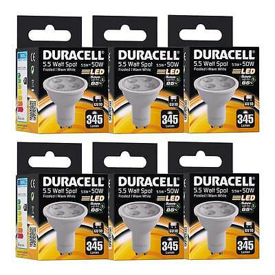 6x Duracell GU10 LED Spot Light Bulb 5.5W 50W Equiv. Frosted Glass Warm White