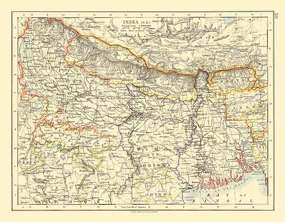 BRITISH INDIA NE. Bengal Nepal Bhutan Calcutta Bihar Orissa. JOHNSTON 1920 map