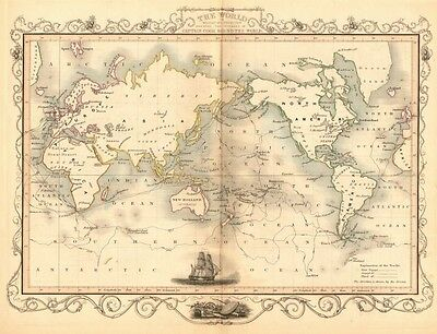 THE WORLD. 'Shewing the voyages of Captain Cook'. TALLIS/RAPKIN 1849 old map