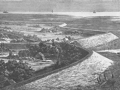 NETHERLANDS. Dykes on the coast of Holland 1894 old antique print picture