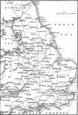 UK. Sketch map of England and Wales 1874 old antique vintage print picture