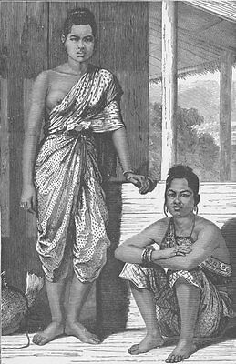 THAILAND. Women of Bangkok, Siam 1892 old antique vintage print picture