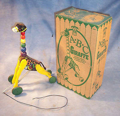 1998 Fisher Price ABC Giraffe Wooden Pull Toy Town Buffalo Zoo Limited Edition