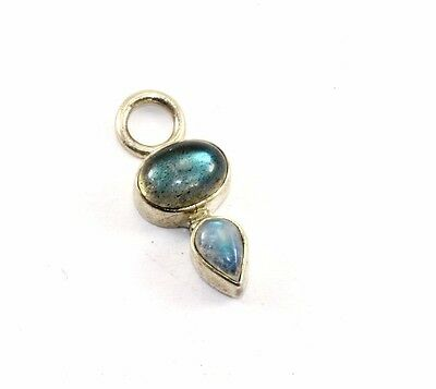 Vintage India Signed Natural Moonstone Inlay Pendant 925 Sterling Pd 439