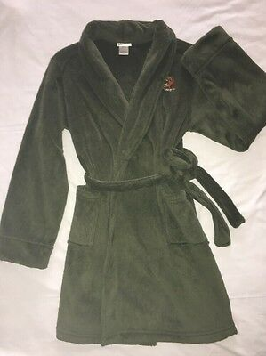 "CHEROKEE- brand: Child's ""T-Rex"" Dinosaur Fleece Bath Sleep Robe: Olive Green, L"