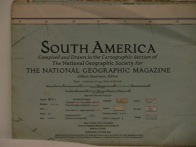 Vintage 1942 National Geographic Map of South America