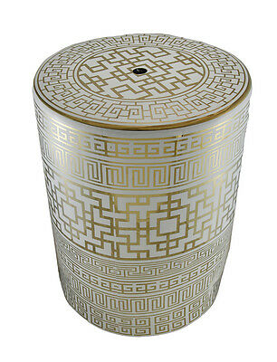 Gold and White Finish Greek Key Design Ceramic Accent Stool/Table 17 Inch