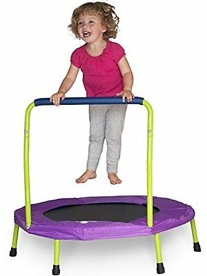 NEW Mini Trampoline with Handle - Lime Green & Purple