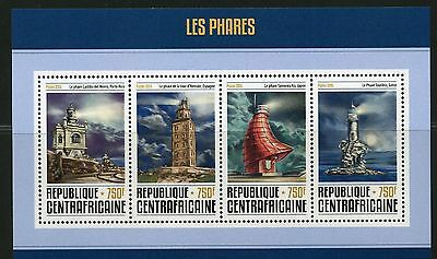 Central Africa 2016 Lighthouses Sheet Mint Nh