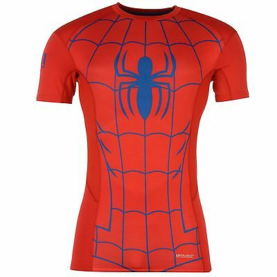 Sondico Marvel Spiderman Baselayer Shirt Juniors Red/Blue Sports Compression Top
