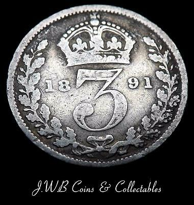 1891 Queen Victoria Silver 3d Threepence Coin - Great Britain