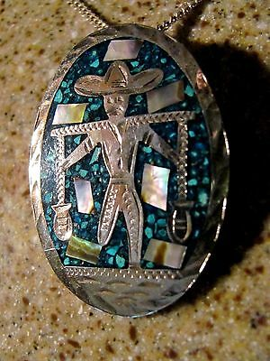 "VINTAGE Mexican Pendant Pin Sterling Silver 925 Turquoise w/23"" Chain"