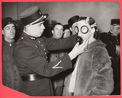 1939 Gas Mask Being Fitted to Women Paris France Original News Photo