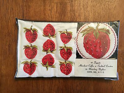 vintage strawberry napkins and coasters NIB 16 Soppets and 16 matching napkins