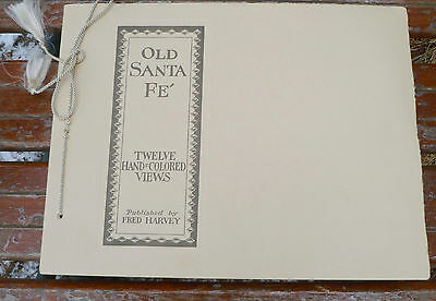 Old Santa Fe 12 Hand Colored Views Fred Harvey Vintage Litho Book