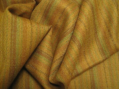 "4.1yds/61"" PURE WOOL FABRIC EARTH TONE STRIPES CLOTHING UPHOLSTERY CRAFTS PILLOW"