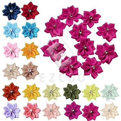 10pcs Satin Ribbon Flower Rosebuds Wedding Appliques Decoration BMRN0034
