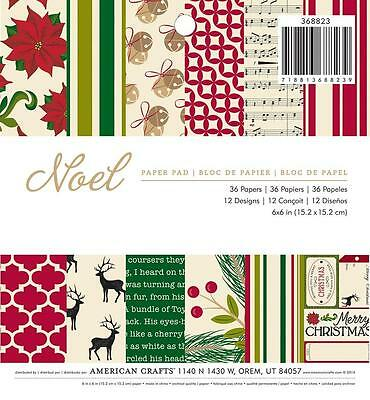 American Crafts NOEL 6x6 Paper Pad Christmas Scrapbook 36pc Pocket Page