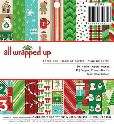 American Crafts ALL WRAPPED UP 6x6 Paper Pad Christmas Scrapbook 36pc