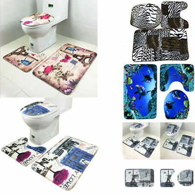 Hot 3PCS Non-Slip Bathroom Pedestal Rug+Lid Toilet Cover+Absorbent Bath Mat Set