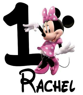 """Minnie Mouse Personalized Iron On Transfer, 5x6.5""""  for LIGHT Colored Fabric"""