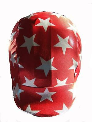Ecotak lycra helmet cover - Red with large white stars.  Ecotak