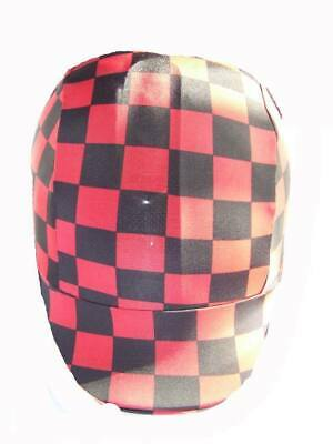Ecotak lycra helmet cover - Red black check Ecotak